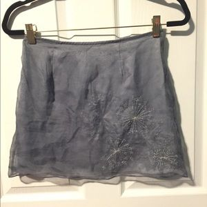 Sparkly silver beaded, embroidered vintage skirt